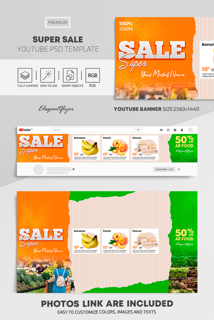 Super Sale – Youtube Channel banner PSD Template