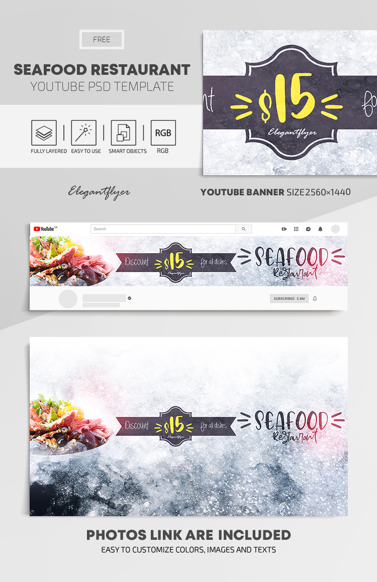 Seafood Restaurant – Free Youtube Channel banner PSD Template