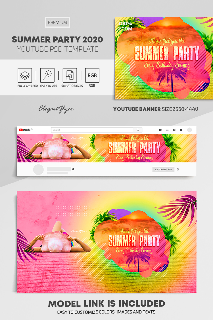 Summer Party 2020 – Youtube Channel banner PSD Template