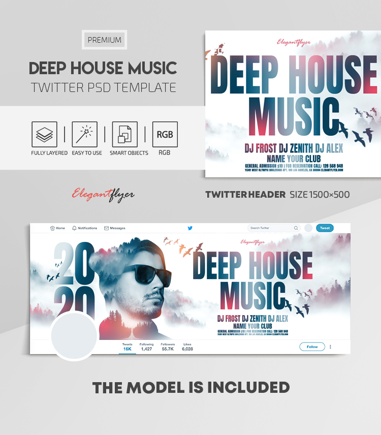 Deep House Music – Twitter Header PSD Template
