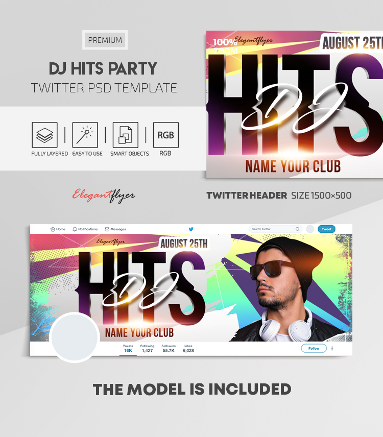 Dj Hits Party – Twitter Header PSD Template