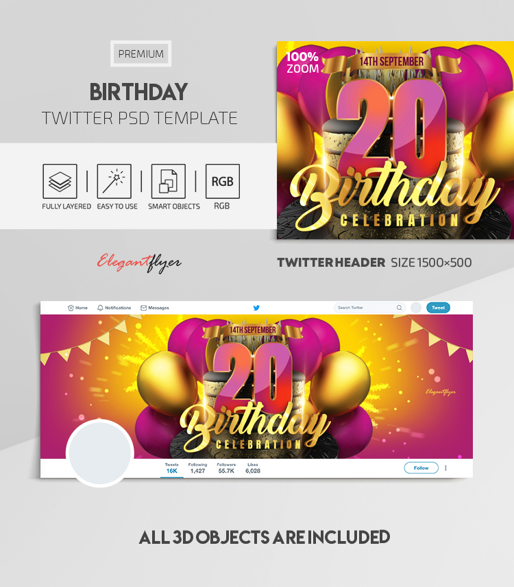 Birthday – Twitter Header PSD Template