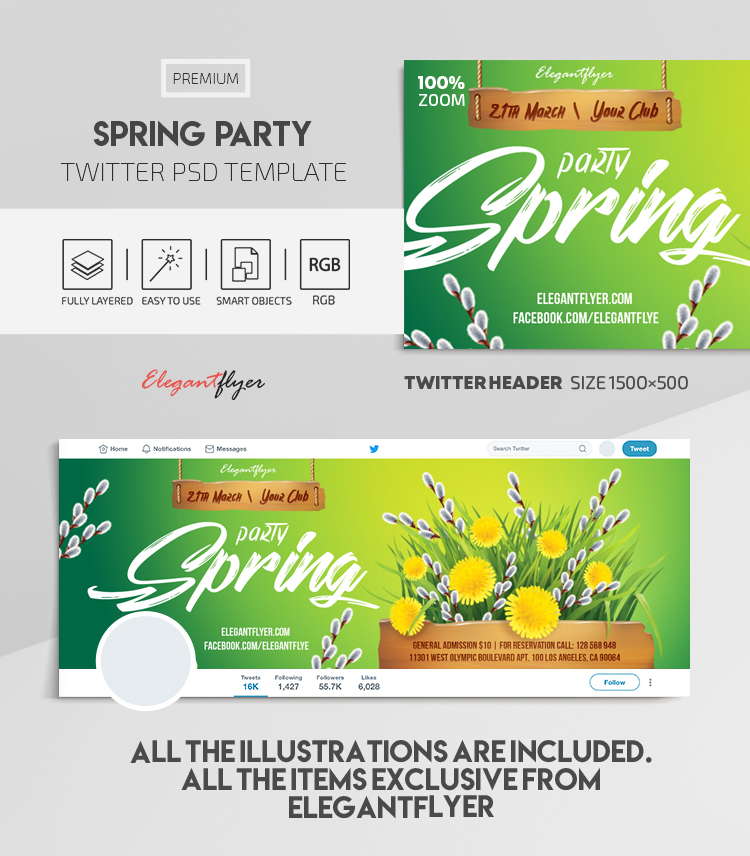 Spring Party – Twitter Header PSD Template