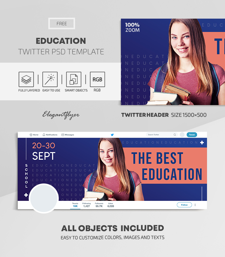 Education – Free Twitter Header PSD Template
