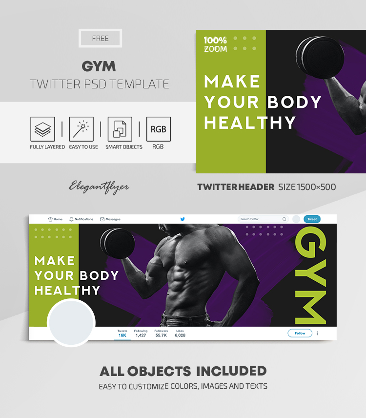 GYM – Free Twitter Header PSD Template