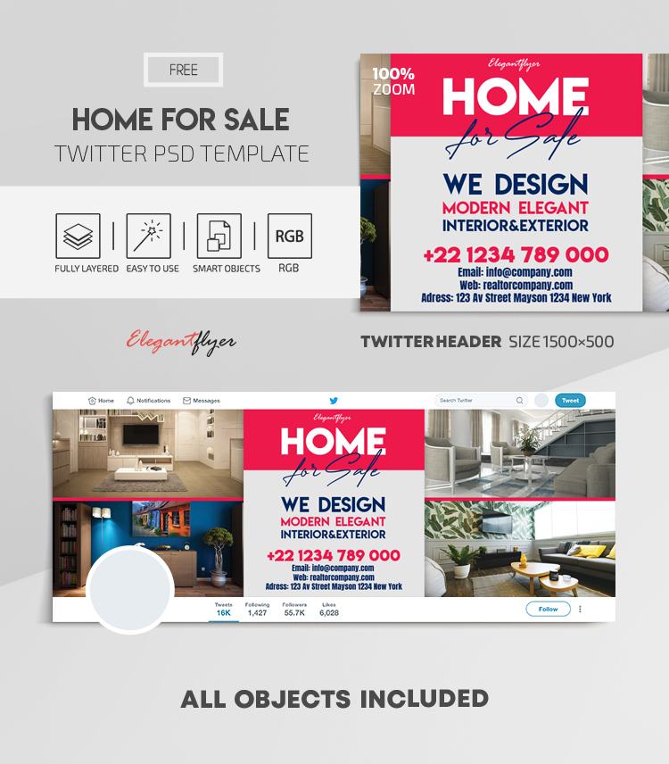 Home For Sale – Free Twitter Header PSD Template
