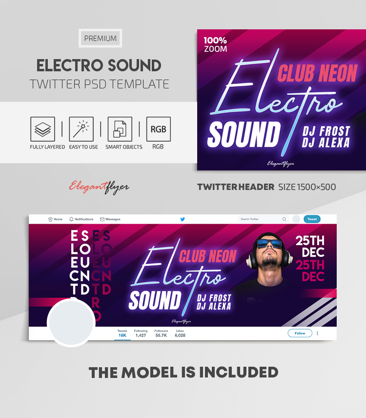 Electro Sound – Twitter Header PSD Template