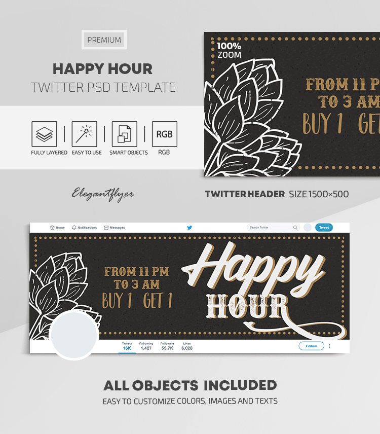 Happy Hour – Twitter Header PSD Template
