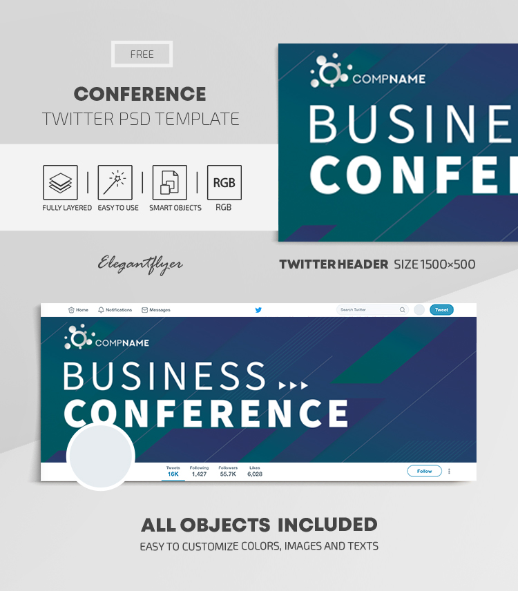 Conference – Free Twitter Header PSD Template