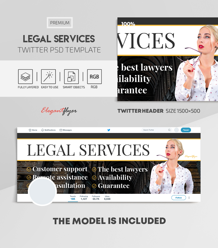 Legal Services – Twitter Header PSD Template
