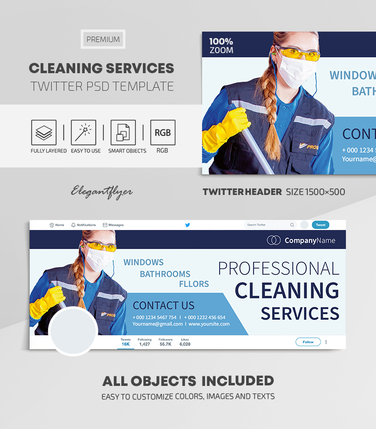 Cleaning Services – Twitter Header PSD Template