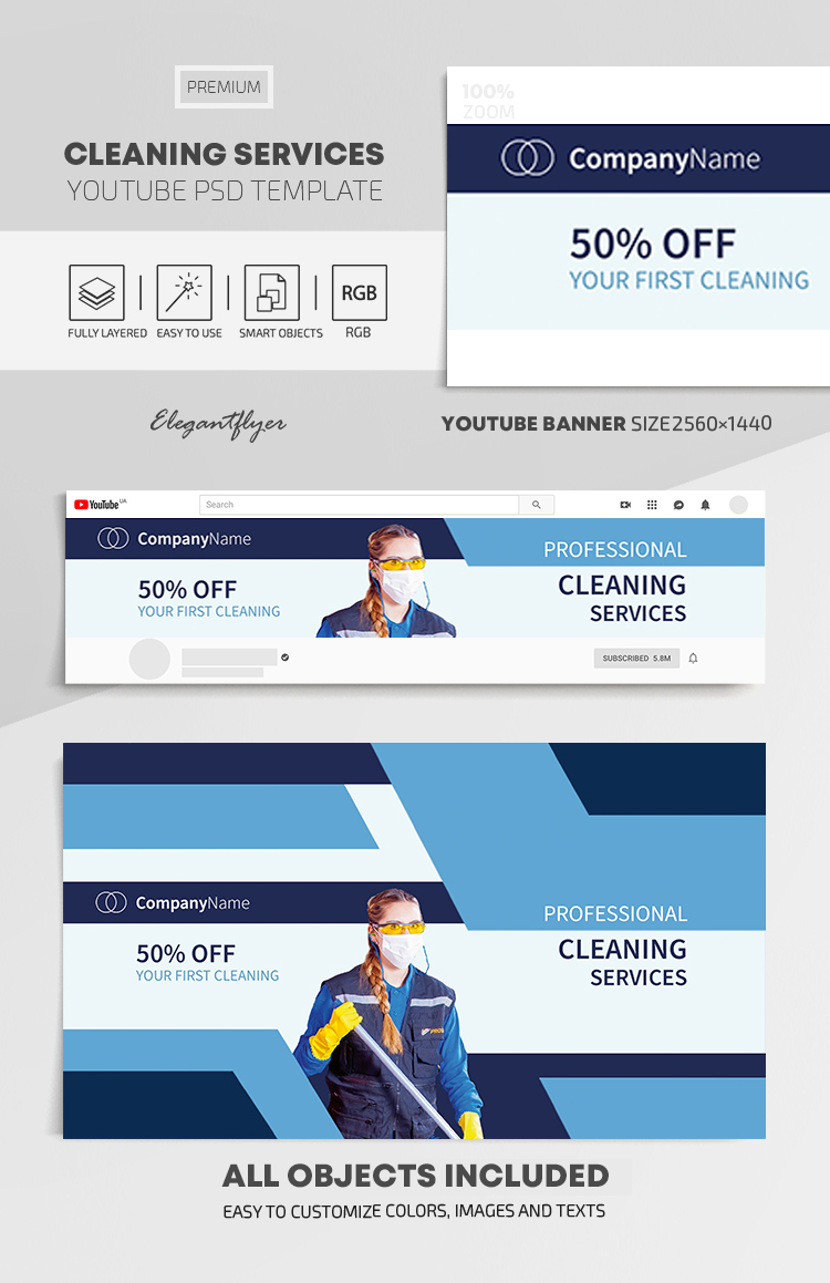 Cleaning Services – Youtube Channel banner PSD Template