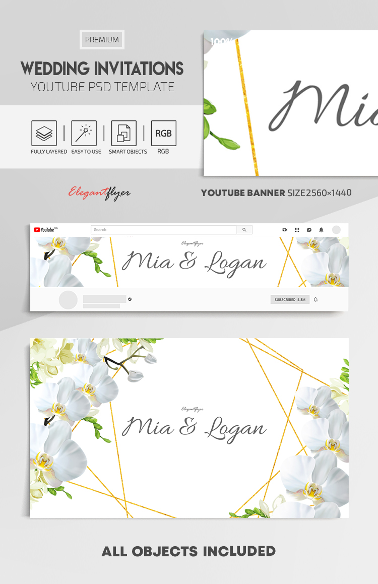 Wedding Invitations – Youtube Channel Banner PSD Template