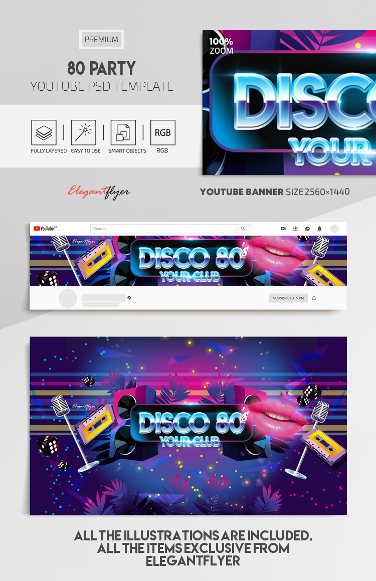 Disco 80 – Youtube Channel banner PSD Template