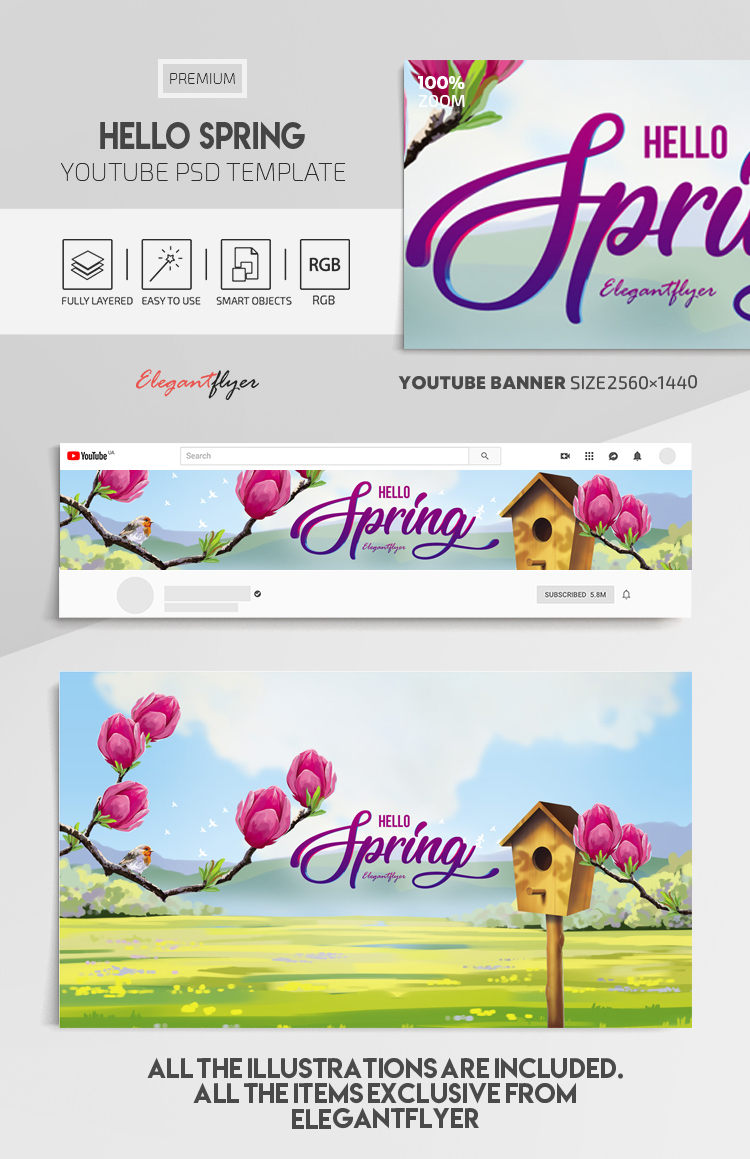 Hello Spring – Youtube Channel banner PSD Template