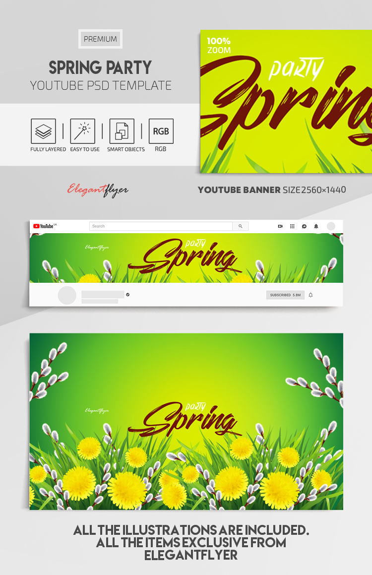 Spring Party – Youtube Channel banner PSD Template
