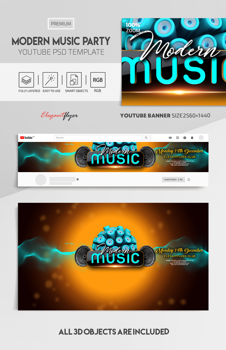 Modern Music Party – Youtube Channel banner PSD Template