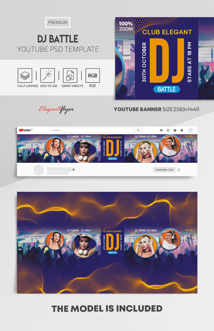 DJ Battle – Youtube Channel banner PSD Template