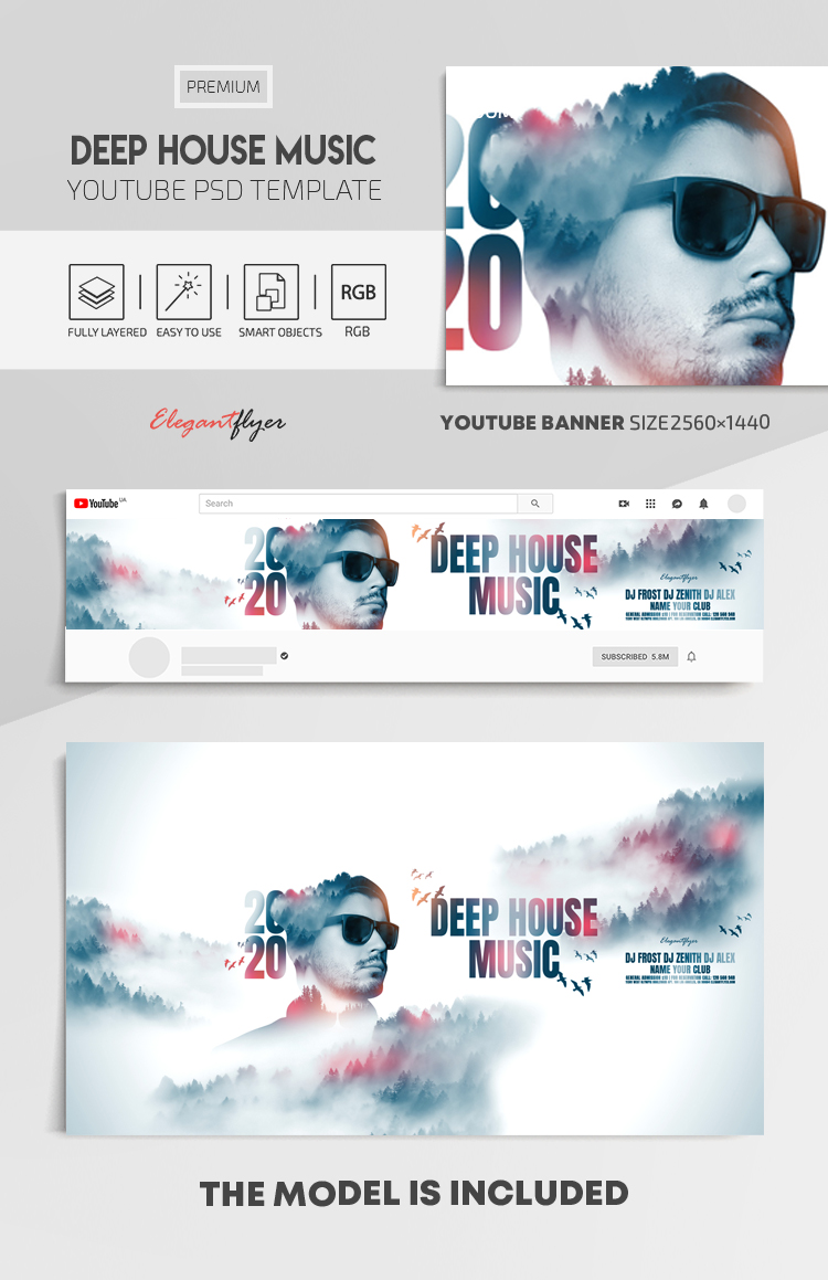 Deep House Music – Youtube Channel banner PSD Template
