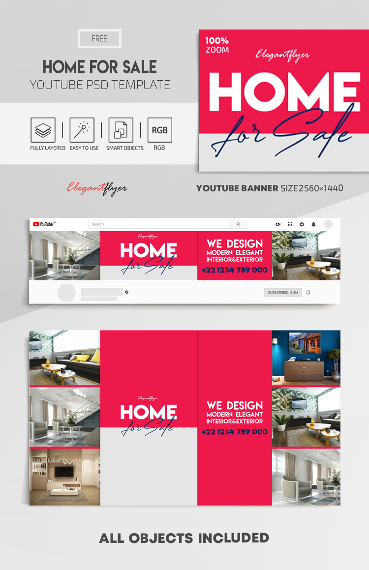 Home For Sale – Free Youtube Channel banner PSD Template