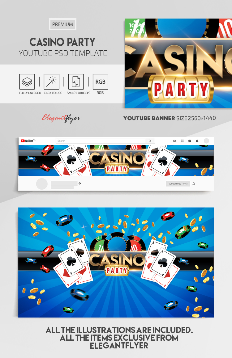 Casino Party – Youtube Channel banner PSD Template