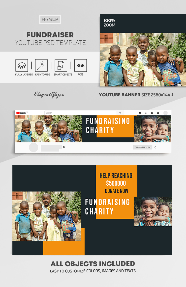 Fundraiser – Youtube Channel banner PSD Template