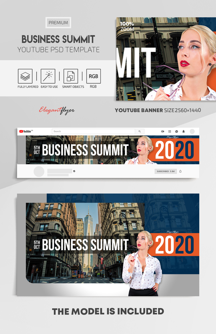 Business Summit – Youtube Channel banner PSD Template