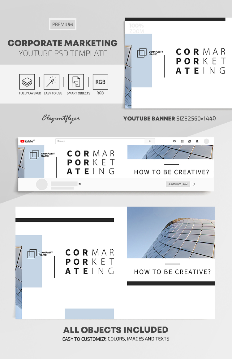 Corporate Marketing – Youtube Channel Banner PSD Template