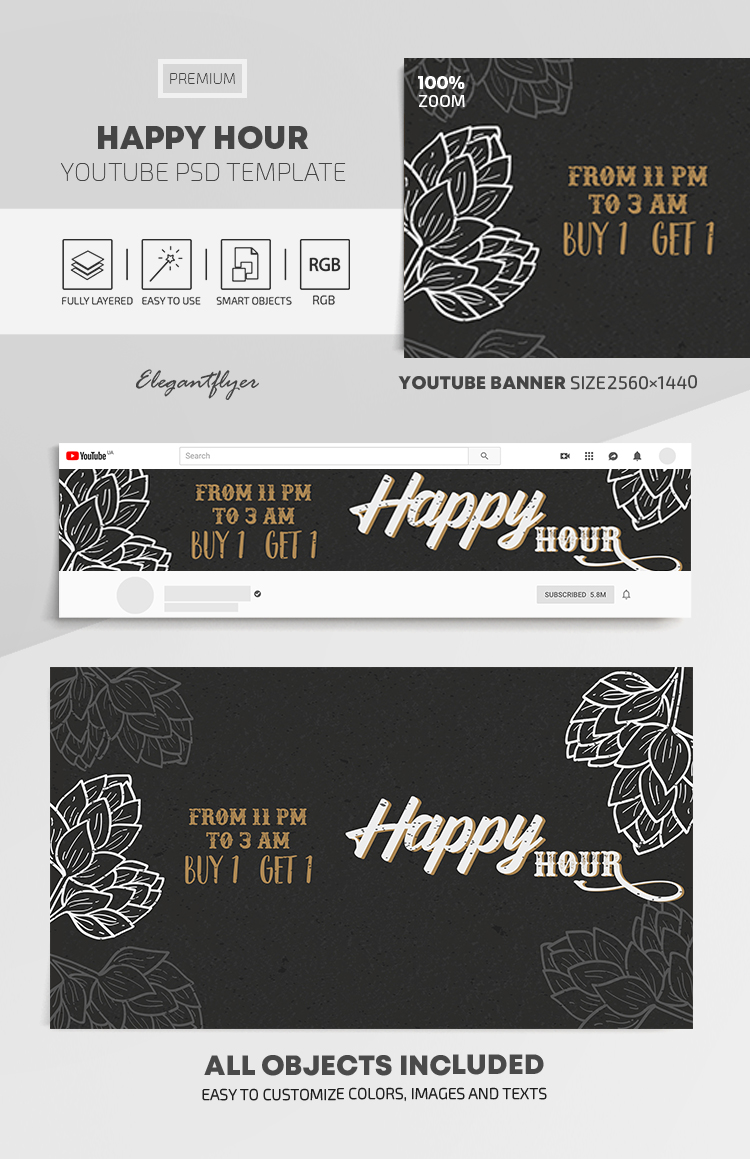 Happy Hour – Youtube Channel banner PSD Template