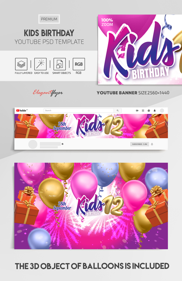 Kids Birthday – Youtube Channel banner PSD Template