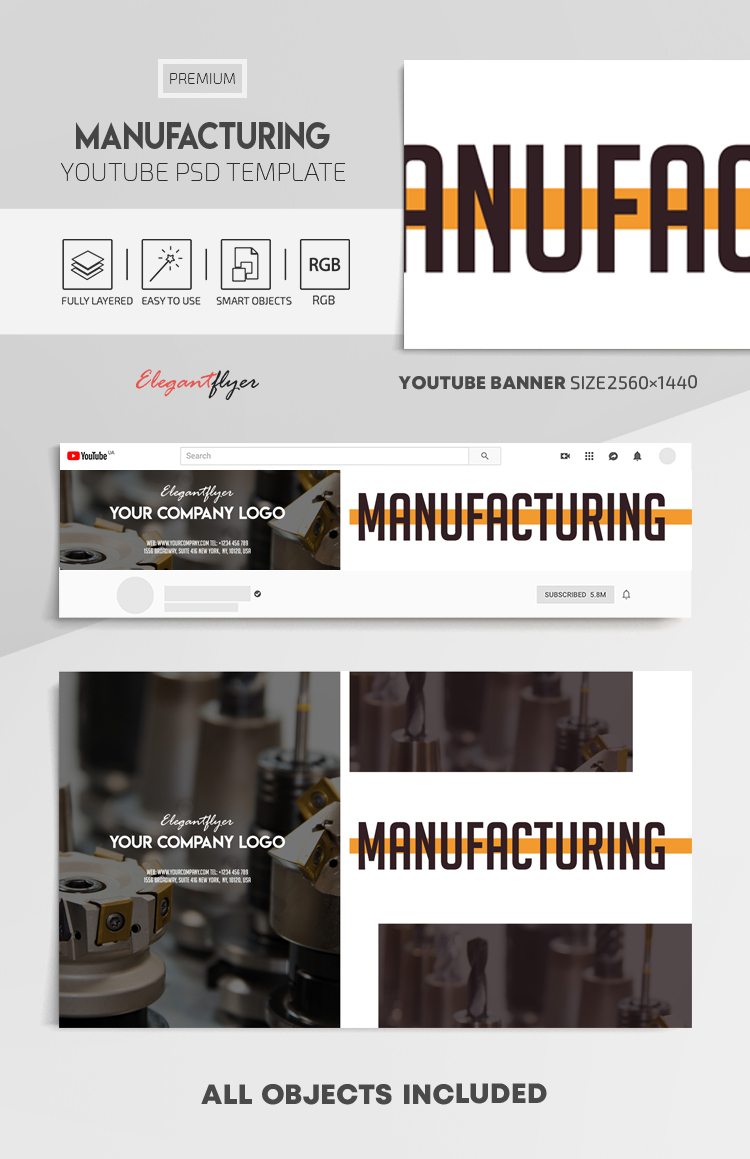 Manufacturing – Youtube Channel banner PSD Template
