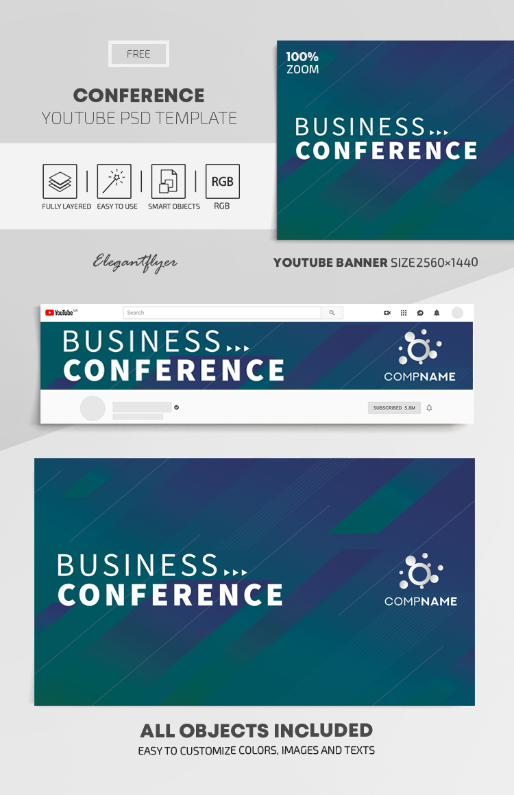 Conference – Free Youtube Channel banner PSD Template