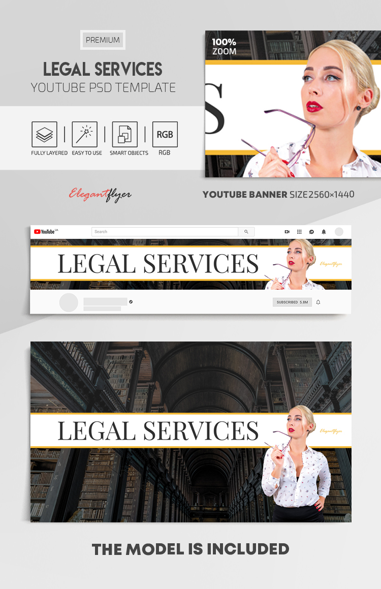 Legal Services – Youtube Channel banner PSD Template