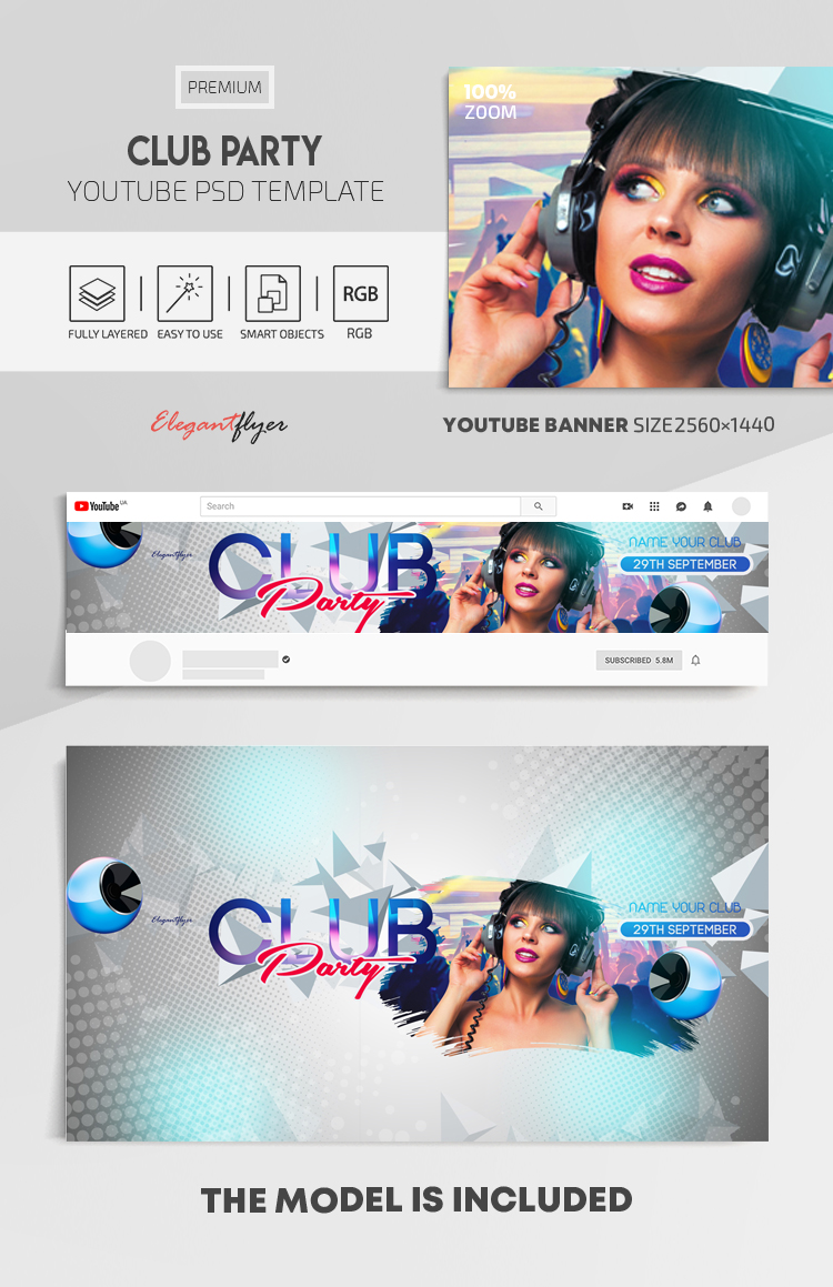 Club Party – Youtube Channel banner PSD Template