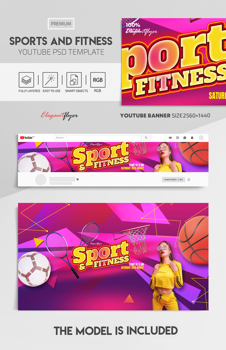 Sports And Fitness – Youtube Channel banner PSD Template