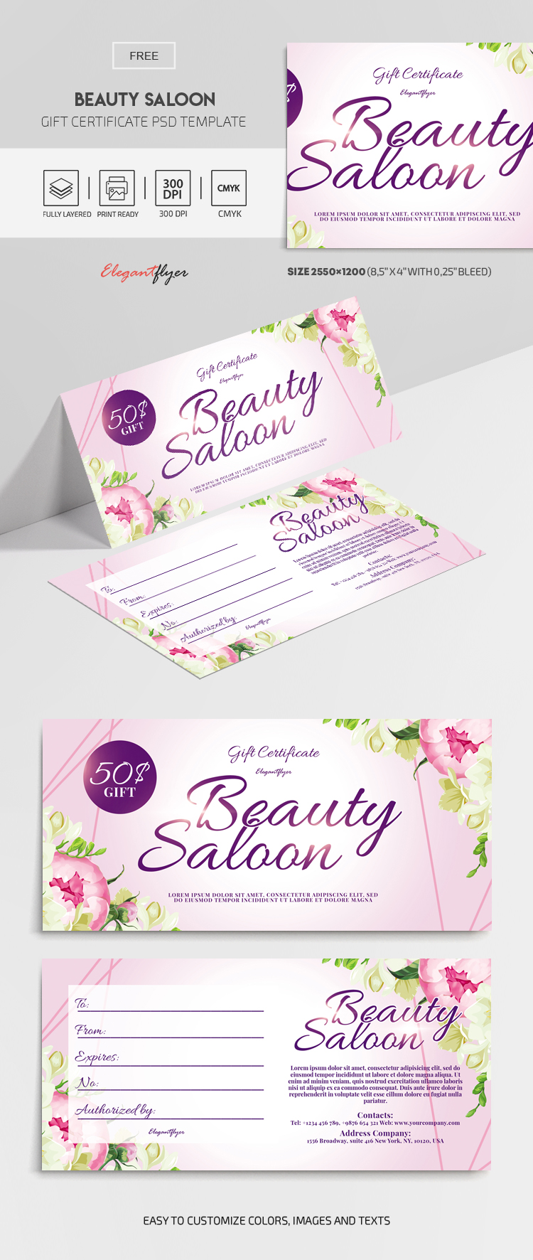 Beauty Saloon – Free Gift Certificate Template in PSD