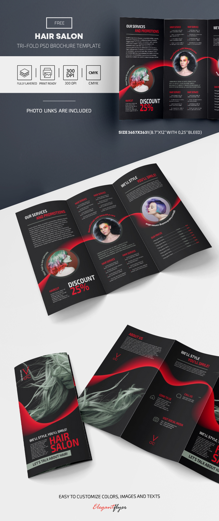 Free Hair Salon Brochure Template