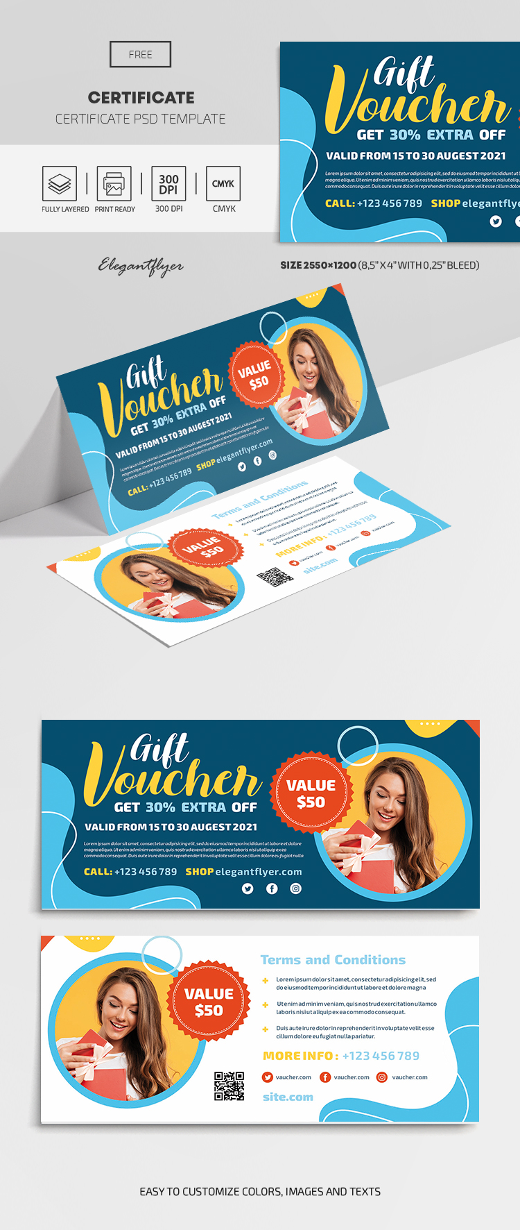 Free Gift Certificate Template in PSD