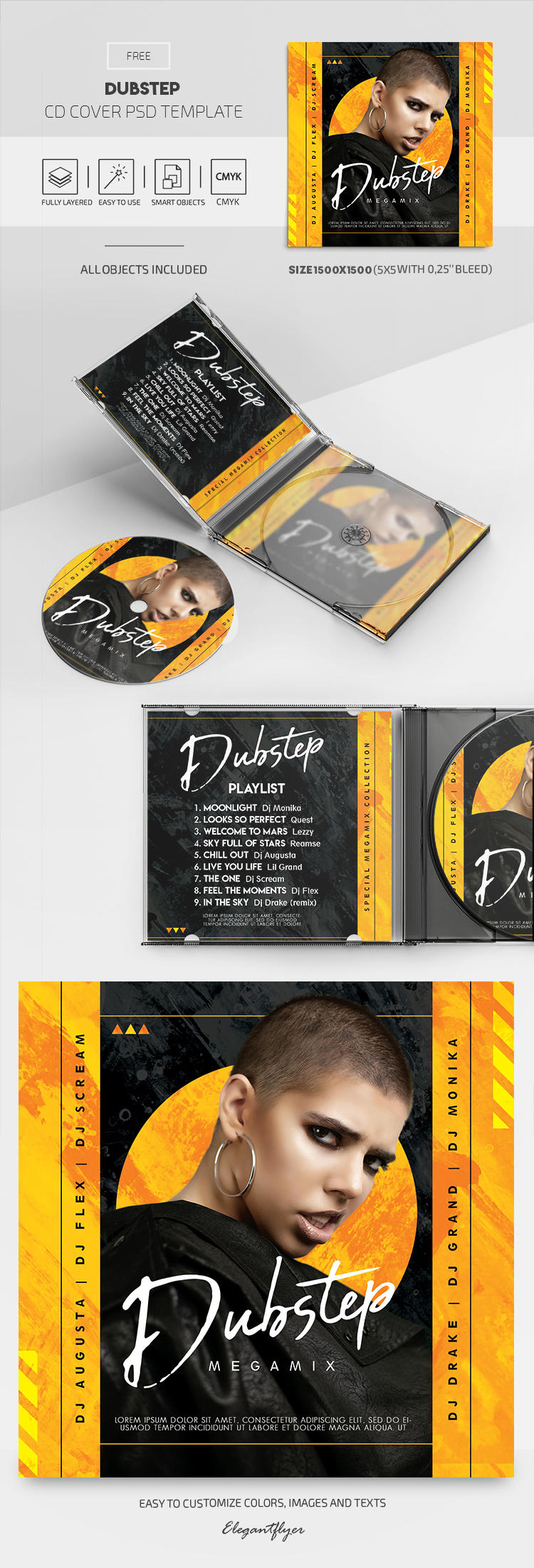 Dubstep – Free CD Cover PSD Template