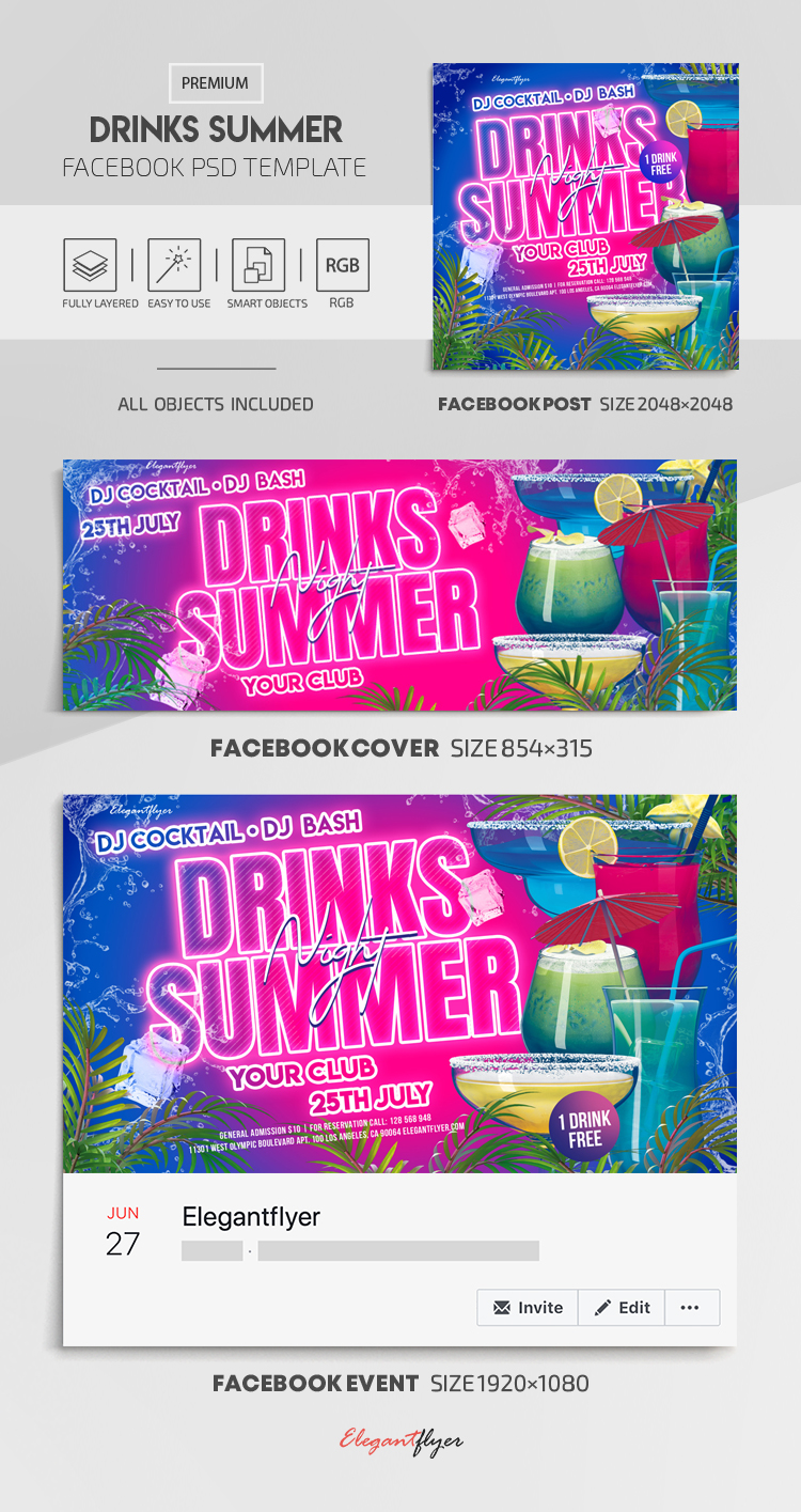 Drinks Summer – Facebook Cover Template in PSD + Post + Event cover