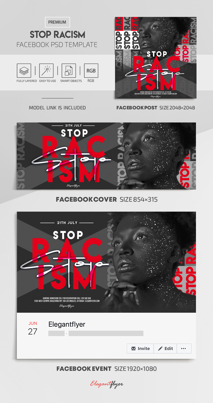 Stop Racism – Facebook Cover Template in PSD + Post + Event cover