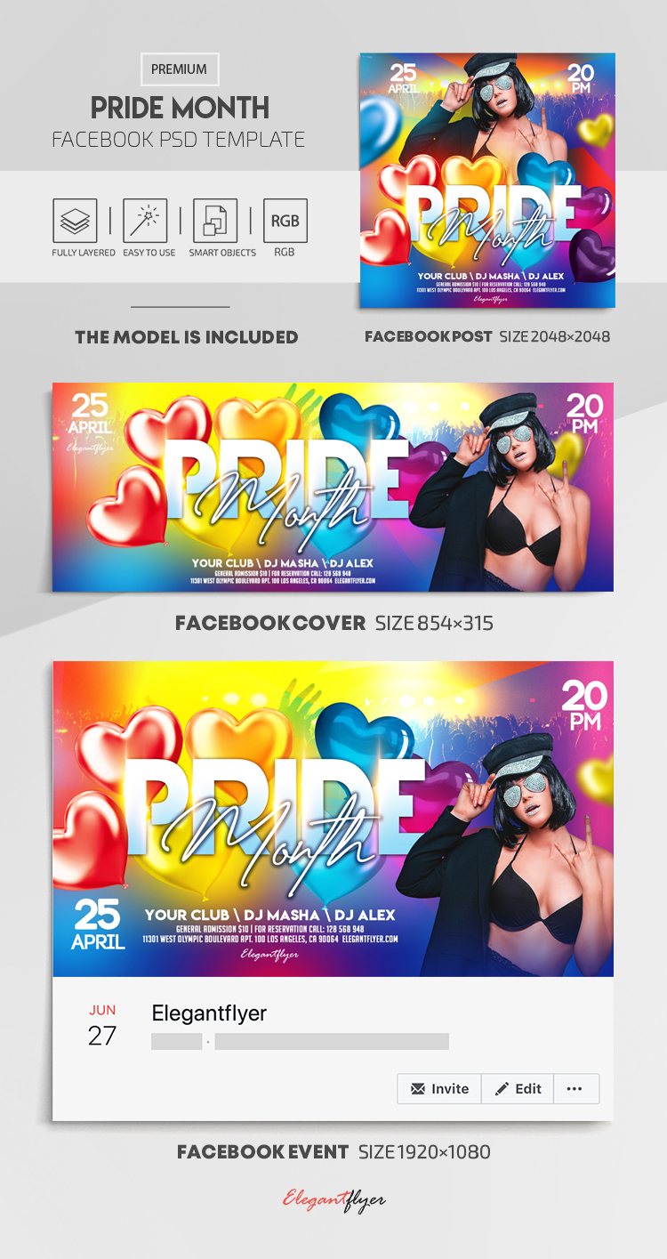 Pride Month – Facebook Cover Template in PSD + Post + Event cover