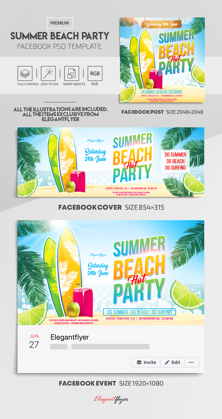 Summer Beach Party – Facebook Cover Template in PSD + Post + Event cover
