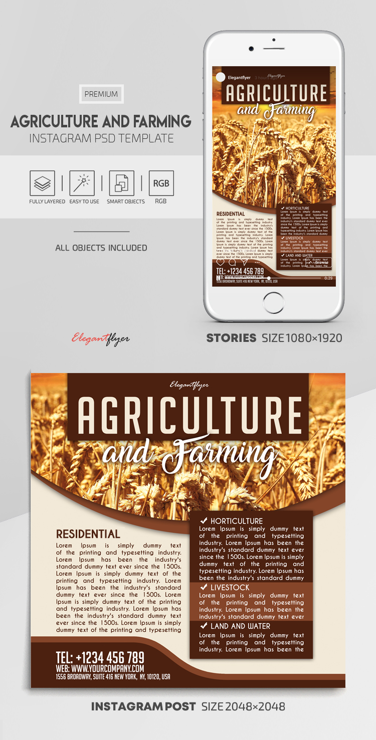 Agriculture and Farming – Instagram Stories Template in PSD + Post Templates