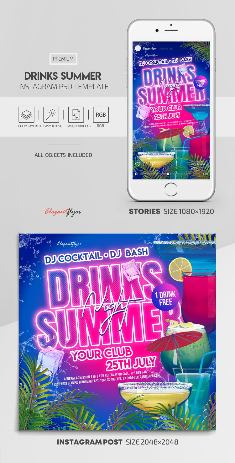 Drinks Summer – Instagram Stories Template in PSD + Post Templates