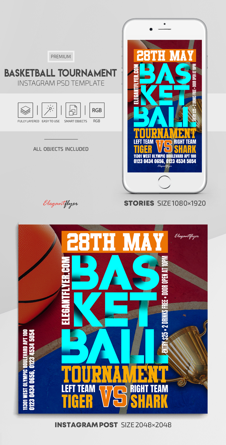 Basketball Tournament – Instagram Stories Template in PSD + Post Templates