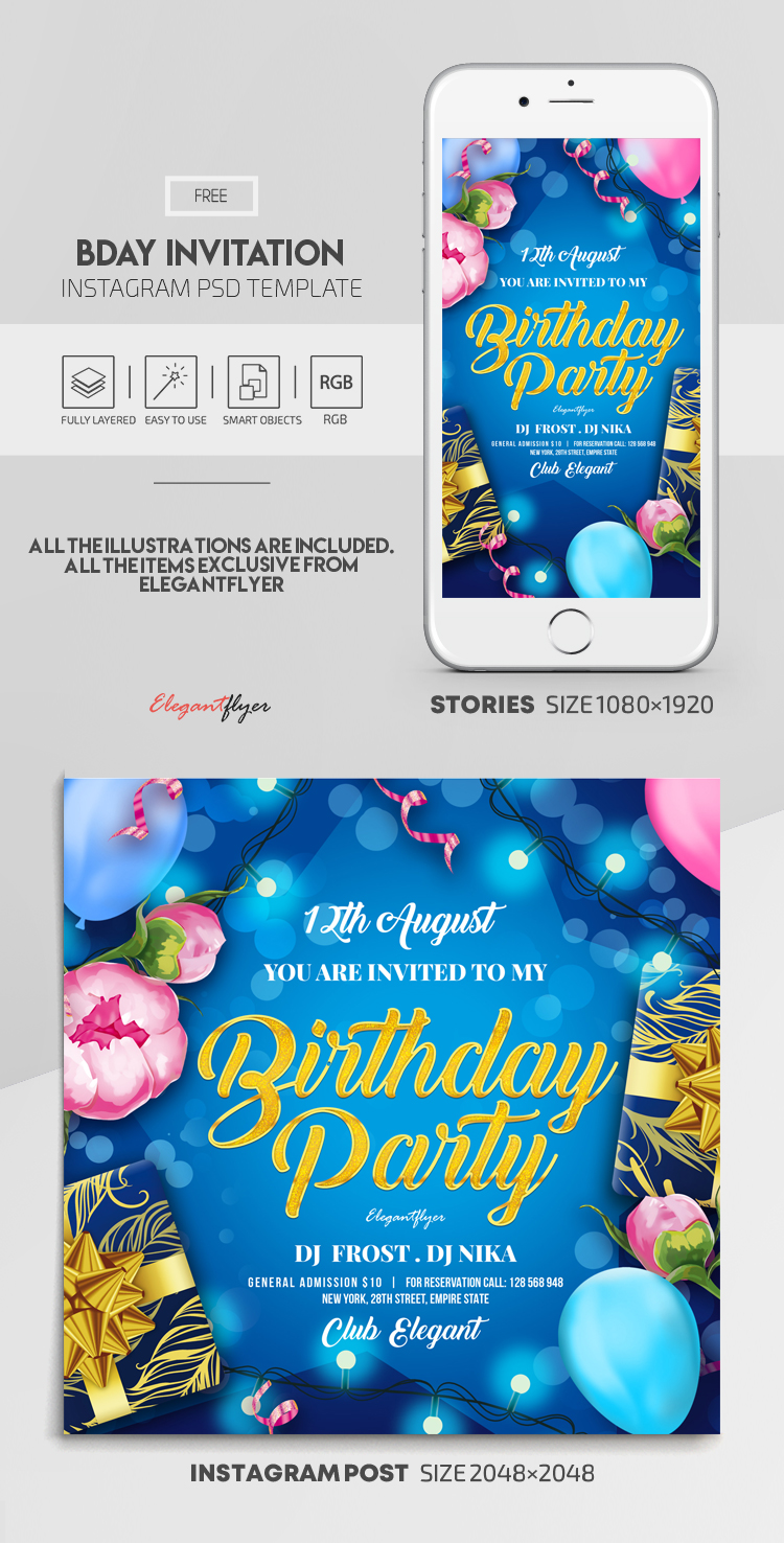 Birthday Invitation – Free Instagram Stories Template in PSD + Post Templates