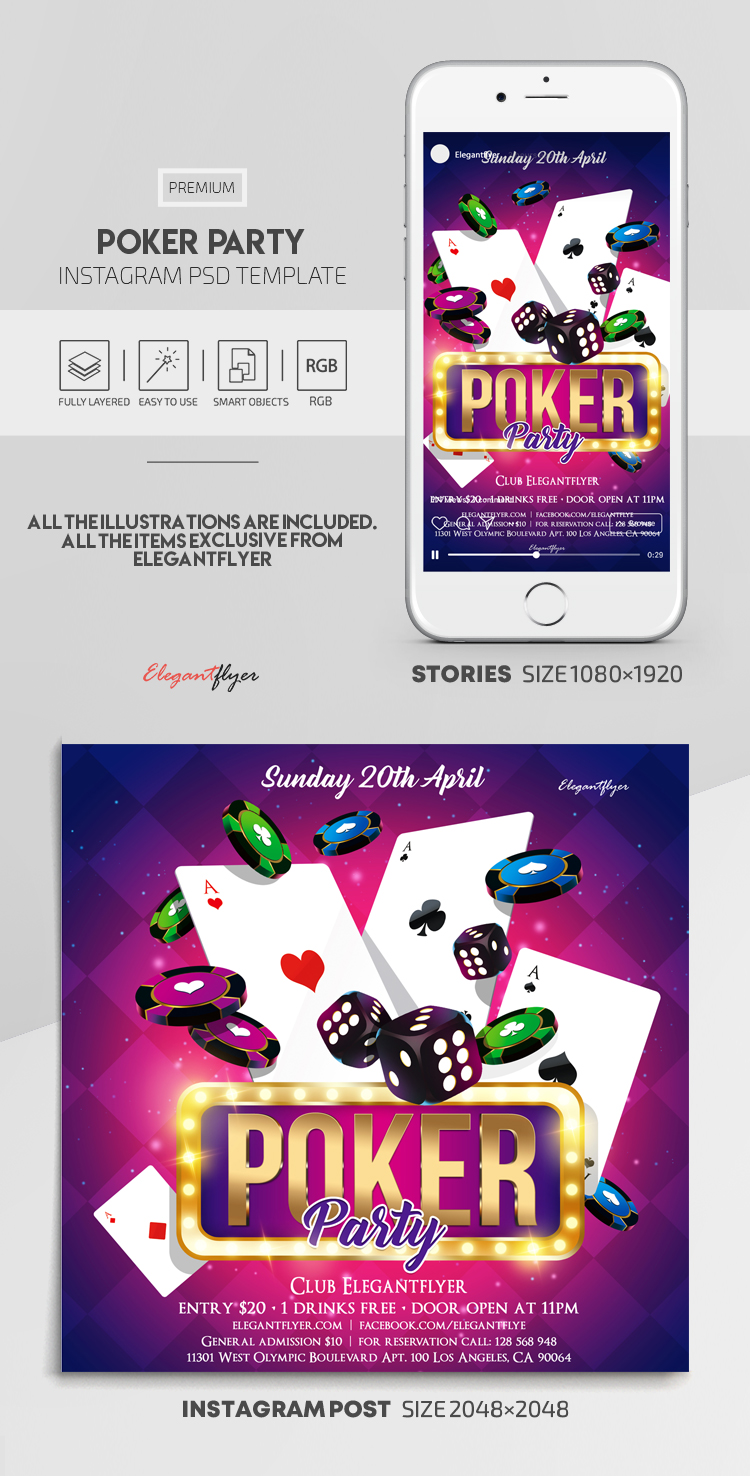 Poker Party – Instagram Stories Template in PSD + Post Templates
