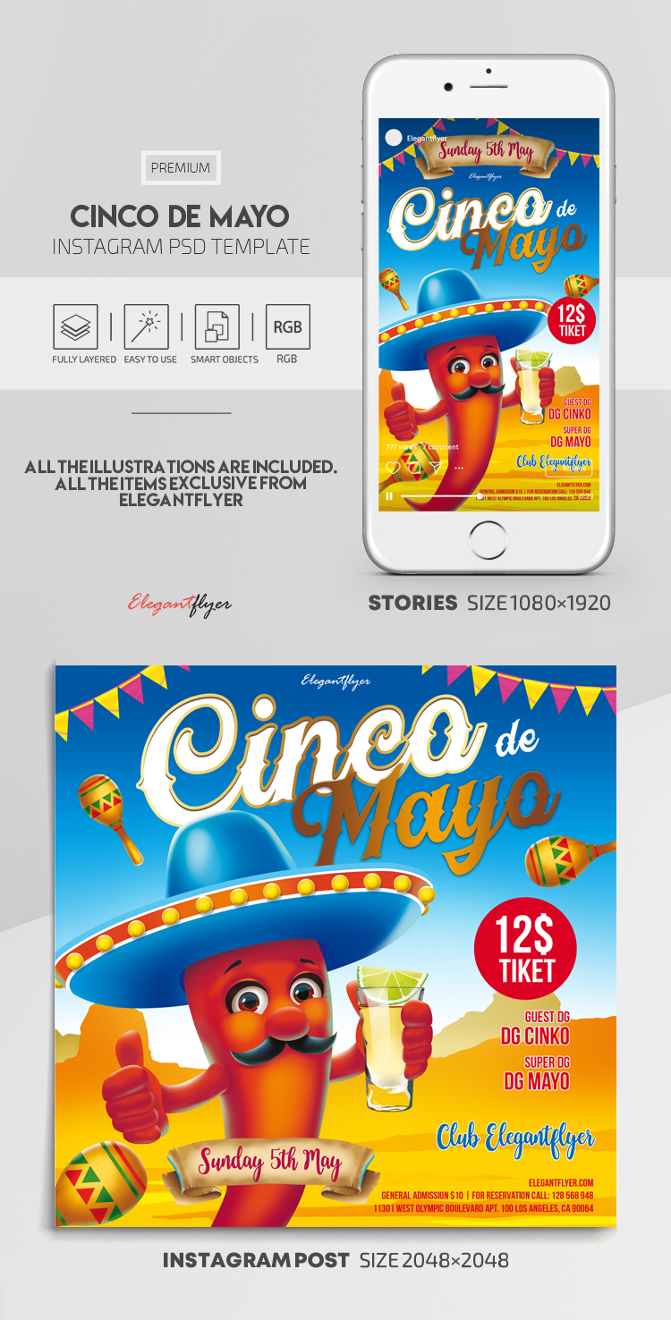 Cinco de Mayo – Instagram Stories Template in PSD + Post Templates