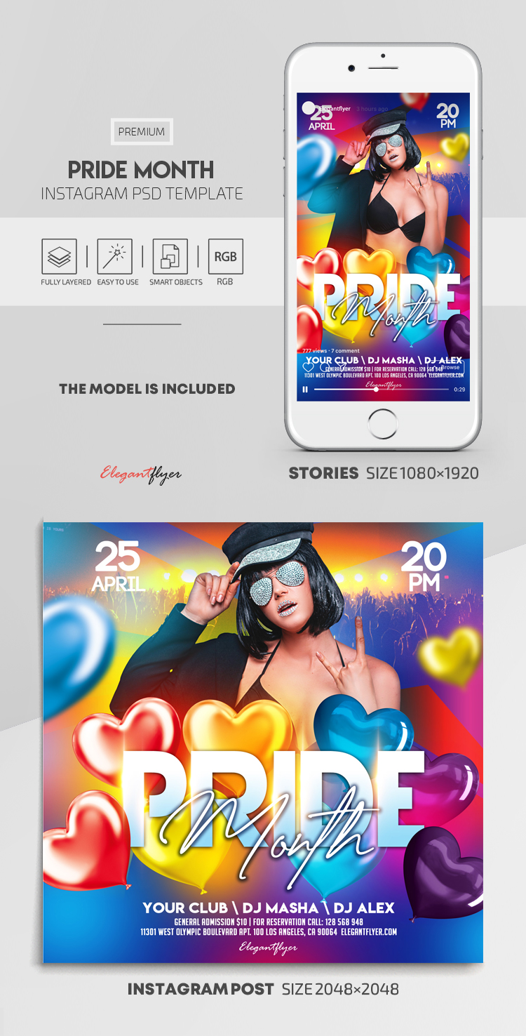 Pride Month – Instagram Stories Template in PSD + Post Templates